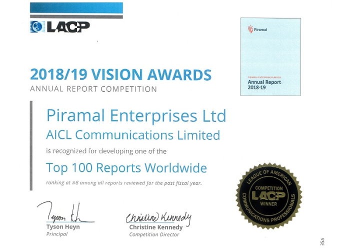 Piramal Enterprises' FY2019 Annual Report Ranked 1st in India and 8th Globally  by League of American Communications Professionals