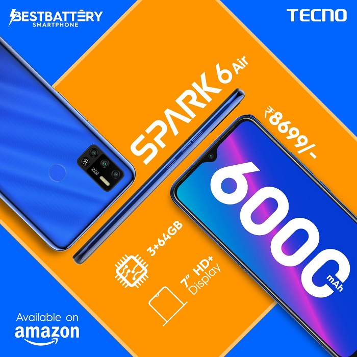 TECNO Set to Change the Game in Sub-9K Smartphone Segment with the New SPARK 6 Air Variant