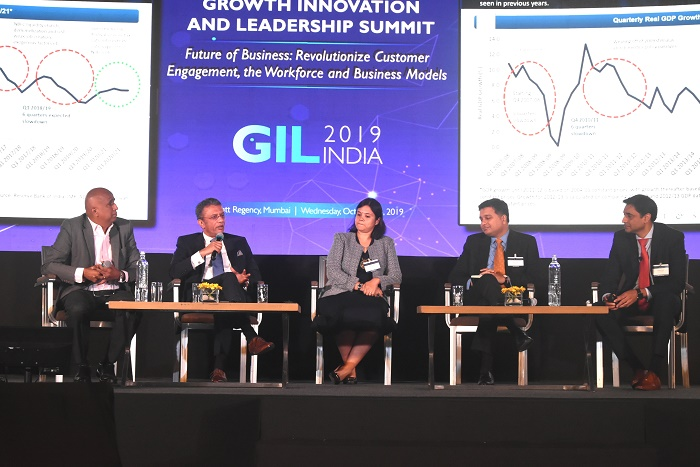 (Left to Right) K Ganesh, Serial Entrepreneur and Partner – GrowthStory.in; Sameer Garde, President, Cisco India and SAARC; Radhika Rao, Senior Vice President, Economics & Strategy Research, DBS Bank, Singapore; Ashish Iyer, Managing Director, Mistry Ventures; and Sarwant Singh, Managing Partner, Frost & Sullivan