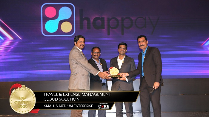 Varun, Co-Founder and COO and Ramesh Iyer, President and Chief Revenue Officer, Happay receiving CIO Choice Award
