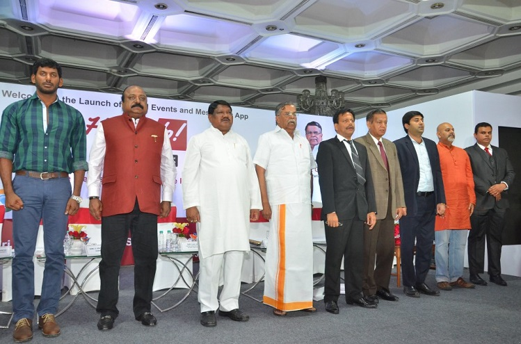 <b>From left to right &#8211; Actor Vishal, Mr. Xavier Britto, Hon&#8217;ble Minister for Tribal Affiars Shri Jual Oram, Mr. La Ganesan MP, Former audit general of India, Sathyamoorthy, Shri Mohit Ralhan, Mr. Sudhakar</b>&#8220;></td> </tr> <tr> <td width=