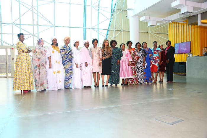 Family photo of Merck Foundation First Ladies Initiative (MFFLI) Summit 2019 (L to R) H.E. First Ladies of Burundi, Mauritania, Guinea Conakry, Sierra Leone, Gambia, Niger, Malawi, Merck Foundation CEO, Mozambique, Zimbabwe, Central African Republic, Congo Brazzaville, Ghana, Namibia, Botswana, Liberia.