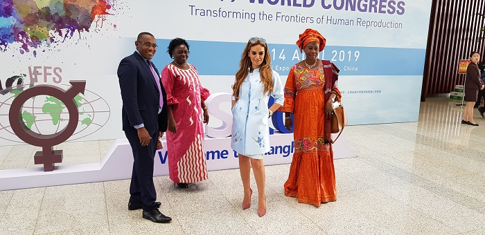 Dr. Rasha Kelej, CEO Merck Foundation & President of Merck More than a Mother with Minister of Health of Uganda, Hon. Sarah Opendi and the Vice President of The Gambia, H. E. Isatou Touray. Minister of Health of Burundi and vice minister of Republic of Congo.
