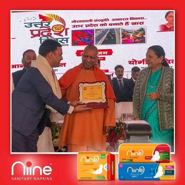 Amar Tulsiyan, Founder of Shudh Plus Hygiene Products, Niine Sanitary Napkins recognized for industrial contribution on Uttar Pradesh day honoured by Chief Minister Yogi Adityanath and UP Governor Anandiben Patel