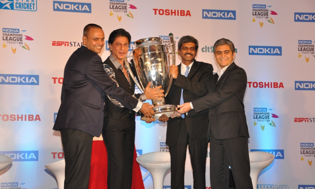 L to R Mr. Sundar Raman, CEO Nokia Champions League Twenty20, Shahrukh Khan Face of Champions League T20, D Shivakumar, Managing Director, Nokia India and Mr. Aloke Malik, Managing Director, ESPN Software India Pvt. Ltd at a press conference announcing SRK as the face of the Nokia Champions League Twenty20