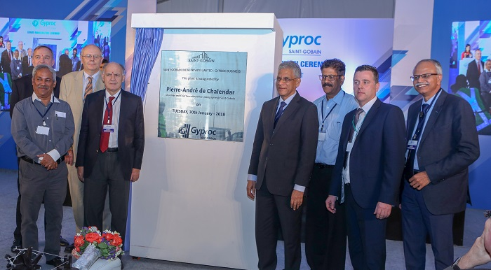 India?s largest plasterboard plant inaugurated in Jhagadia, Gujarat by Mr. Pierre-André de Chalendar, Chairman and Chief Executive Officer ? Compagnie de Saint-Gobain, Mr. Anand Mahajan, General Delegate, Saint-Gobain Group in India and Mr. Venkat Subramanian, Regional CEO Construction Products India & Managing Director, Gyproc India