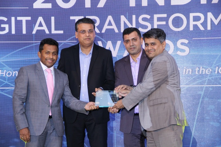 Mr. Rajesh Menon, VP & Head - Unified Communications & Collaboration Services, India and Mr. Sanjay Mathew, General Manager - Unified Communications & Collaboration, Tata Communications receiving the ?Hosted Contact Center Service Provider of the Year? award from Mr. Anjani Kumar, Sr. VP & Global Chief Digital Officer, Collabera, in the presence of Mr. Y.S. Shashidhar, Managing Director & Partner, Frost & Sullivan - South Asia, Middle East & North Africa