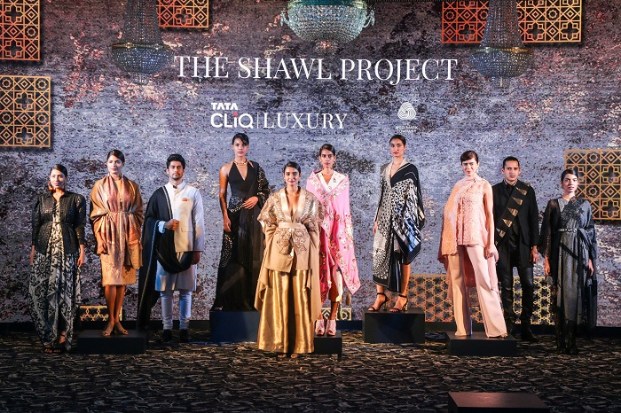 Models showcasing the 10 exquisite shawls curated by 10 leading designers at the launch of The Shawl Project