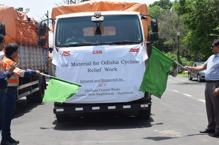 ACC trucks distributing relief materials in Odisha