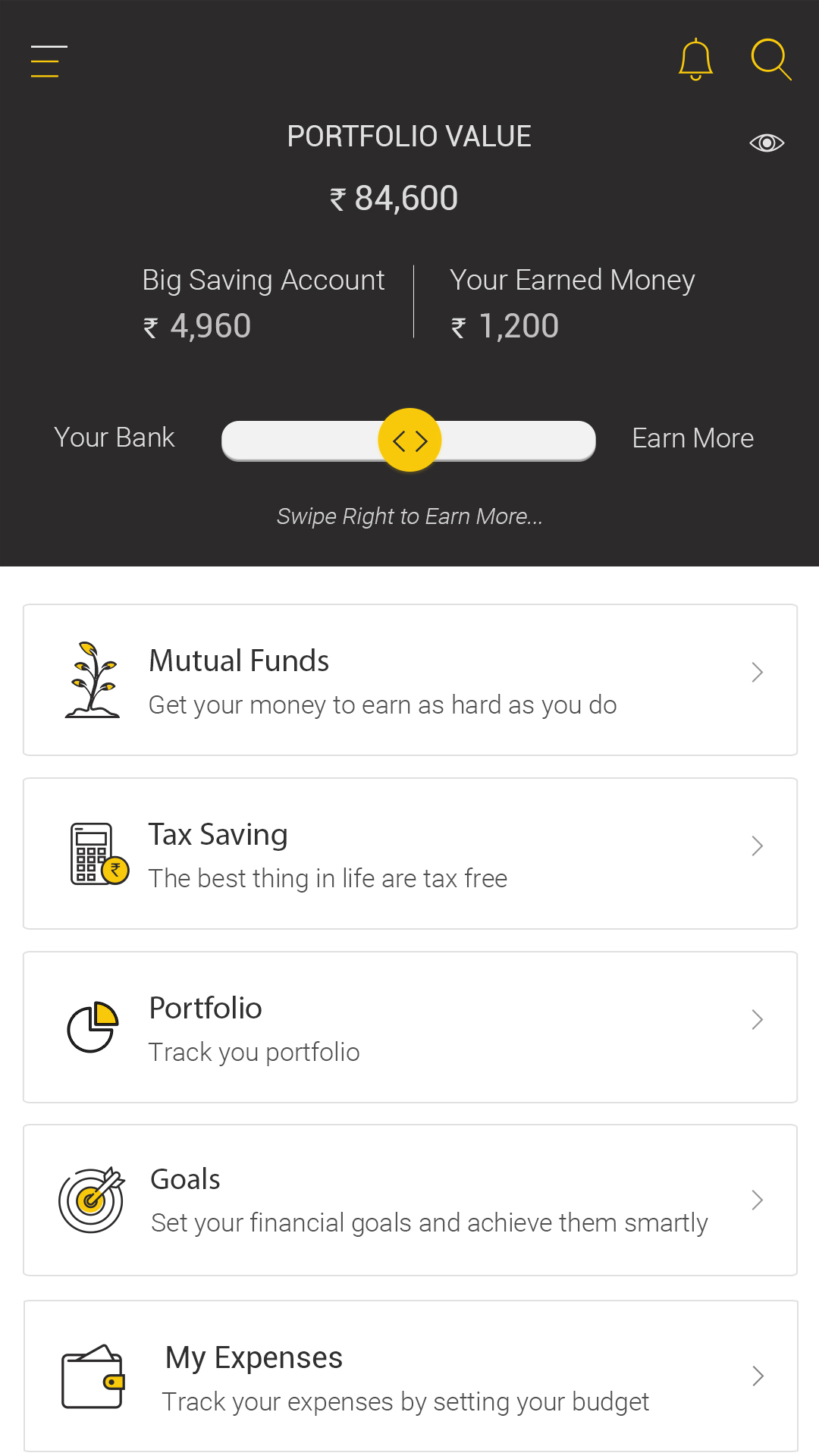 The dashboard of the ANGEL BEE app by Angel Broking