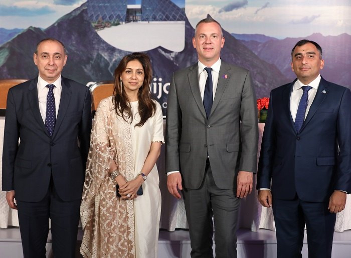 H.E. Mr. Ashraf Shikhaliyev, Ambassador of the Republic of Azerbaijan to India; Lubaina Sheerazi, COO India Representative Office; CEO, Florian Sengstschmid and Mr. Nazim Samadov, Deputy Director Executive of Azerbaijan Airlines / Buta Airways Director.