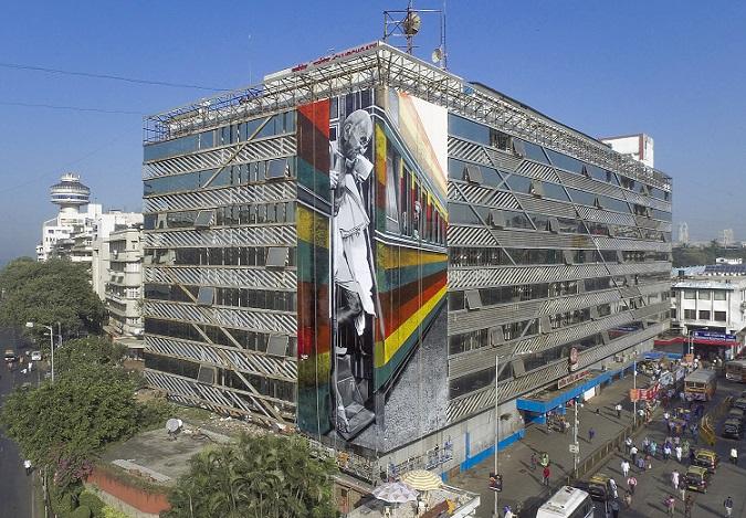 Mahatma Gandhi mural by Eduardo Kobra - Photo by Akshat Nauriyal