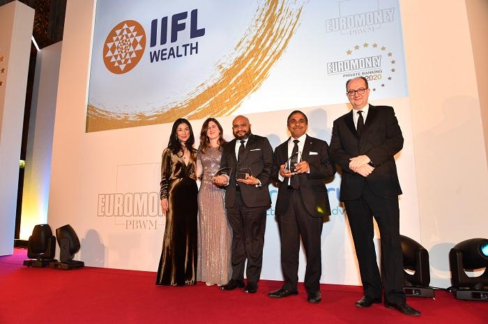 At the Euromoney Awards in London from L to R - Lily Zhu, Global Publisher, Helen Avery, Global Wealth Management Editor, Ronak Sheth, Senior Partner, IIFL Wealth, Girish Venkataraman, Senior Managing Partner, IIFL Wealth and Clive Horwood, Euromoney Editor
