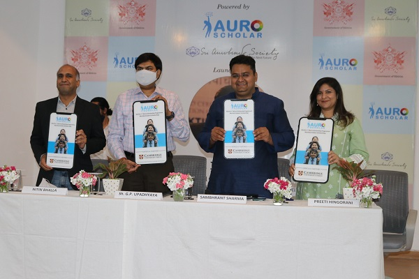 Sikkim Government launches students micro-scholarship programme, powered by Auro Scholarship programme of Sri Aurobindo Society. (from right to left)-Ms. Preeti Hingorani, Vice President-Brand & Partner of Education, Cambridge University Press; Mr. Sambhrant Sharma, Director Education- Sri Aurobindo Society; Mr. G P Upadhyaya, Additional Chief Secretary Sikkim, Secretary-in-Charge of Education Department, Government of Sikkim; & Mr. Nitin Bhalla, Outreach and Partnerships, Sri Aurobindo Society