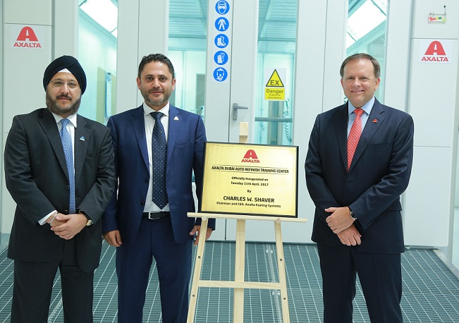 <b>(From left to right) Sobers Sethi, VP and President, Emerging Markets, Fadi Medlej, Managing Director of Middle East and North Africa, and Charlie Shaver, Chairman and CEO of Axalta Coating Systems inaugurate Axalta&#8217;s Dubai Auto Refinish Training Center</b>&#8220;></td> </tr> <tr> <td width=