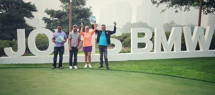 (R to L) Mr. Amod Joshi (Winner ? Men A), Ms. Sheena Rawla (Winner ? Ladies), Mr. Rudratej Singh (President and CEO, BMW Group India) and Mr. V Gautham Reddy (Winner ? Men B)