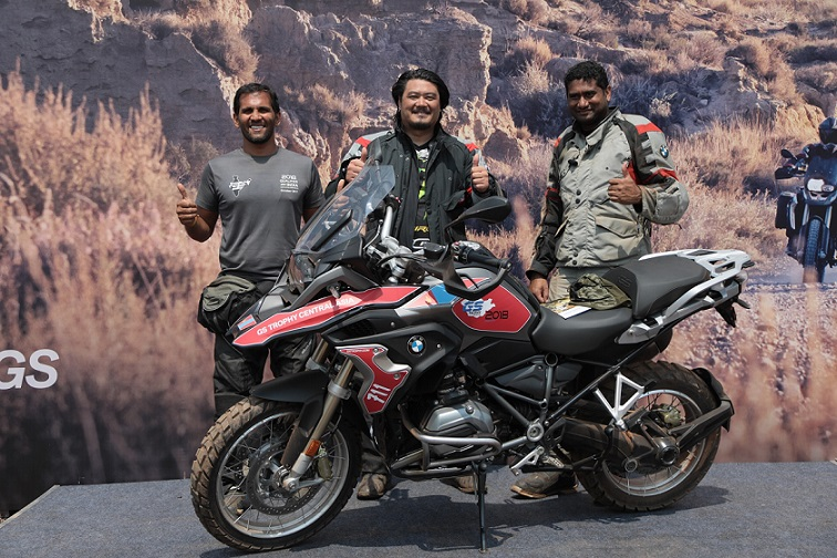 (L-R) Winners of the BMW Motorrad International GS Trophy India qualifier Mr. Sanket Shanbhag, Mr. Winston Lee and Mr. Suprej Venkat