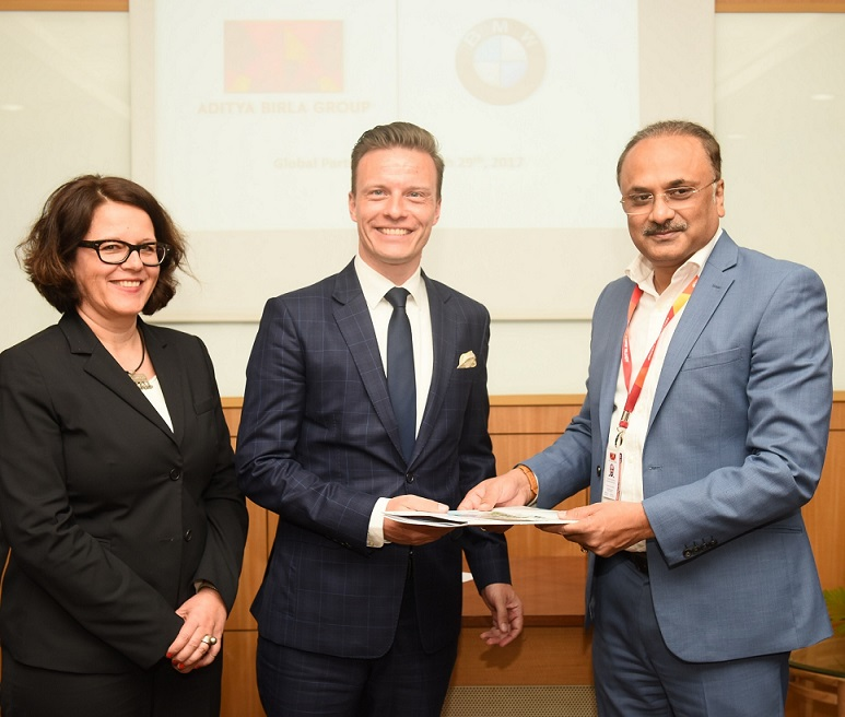 <b>(L &#8211; R) – Ms. Astrid Schneider &#8211; Key Account Management, International Corporate, Direct and Special Sales, BMW Group AG, Mr. Rene Gerhard, Director-Sales, BMW Group India, Mr. Subrato Sarkaar, Joint President &#8211; Corporate Administration, Aditya Birla Group</b>&#8220;></td> </tr> <tr> <td width=