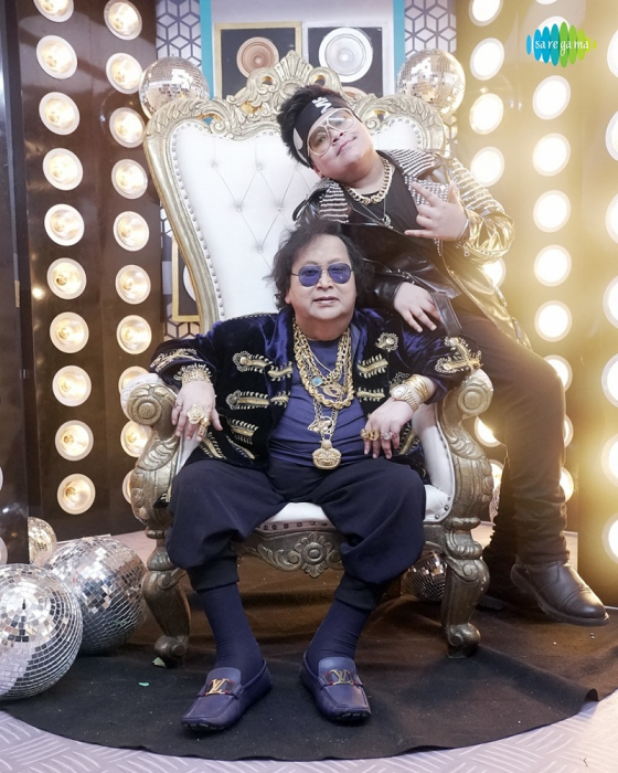 Rego B with grandfather Bappi Lahiri at the sets of upcoming song - Bachcha Party