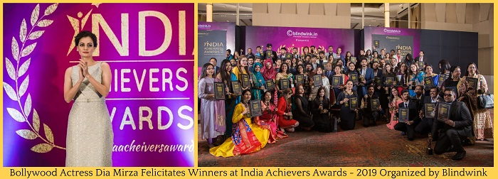 Bollywood Actress Dia Mirza felicitates winners at Indian Achievers Awards, 2019 organized by Blindwink