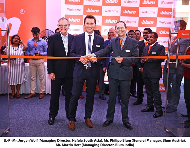 <b>(L-R) Mr. Jurgen Wolf (Managing Director, Hafele South Asia), Mr. Philipp Blum (General Manager, Blum Austria), Mr. Martin Herr (Managing Director, Blum India)</b>&#8220;></td> </tr> <tr> <td width=