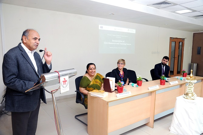 CLIL inaugurate: Chairman of the People?s Linguistic Survey of India (PLSI) Dr. Ganesh N Devy addressing the gathering at the inauguration of Content and Language Integrated Learning (CLIL) Resource and Training Centre of CLIL@India Project in Manipal on Monday