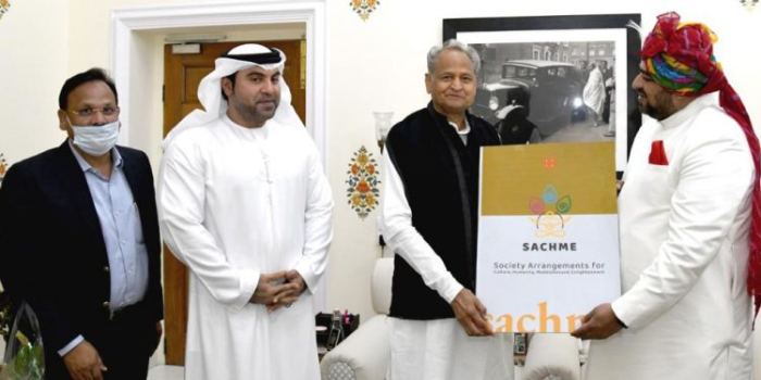 Chief Minister of Rajasthan Shri Ashok Gehlot supports SACHME a unique religious concept designed by Shri Anurag Maheshwari during the visit to the Pink City