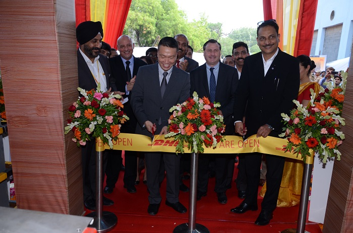Inauguration of DHL Express' expanded Delhi Gateway at the Indira Gandhi International Airport on Thursday. Present at the event were Shri. Rajiv Pratap Rudy, Hon'ble Union Minister of State for Skill Development and Entrepreneurship (Independent Charge), Government of India, Mr. Ken Lee, CEO of DHL Express Asia Pacific and Mr. RS Subramanian, Senior Vice President & Country Manager, DHL Express India.
