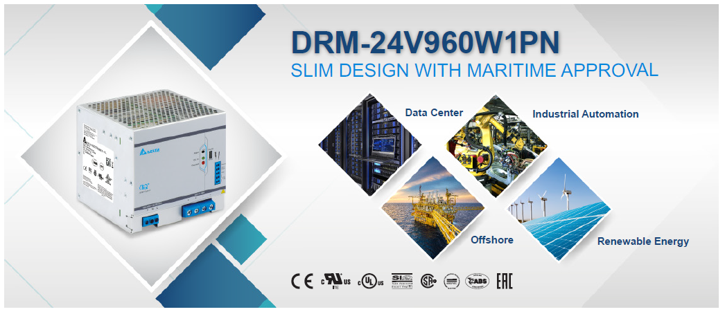 Delta DRM-24V960W1PN, Slim Design With Maritime Approval