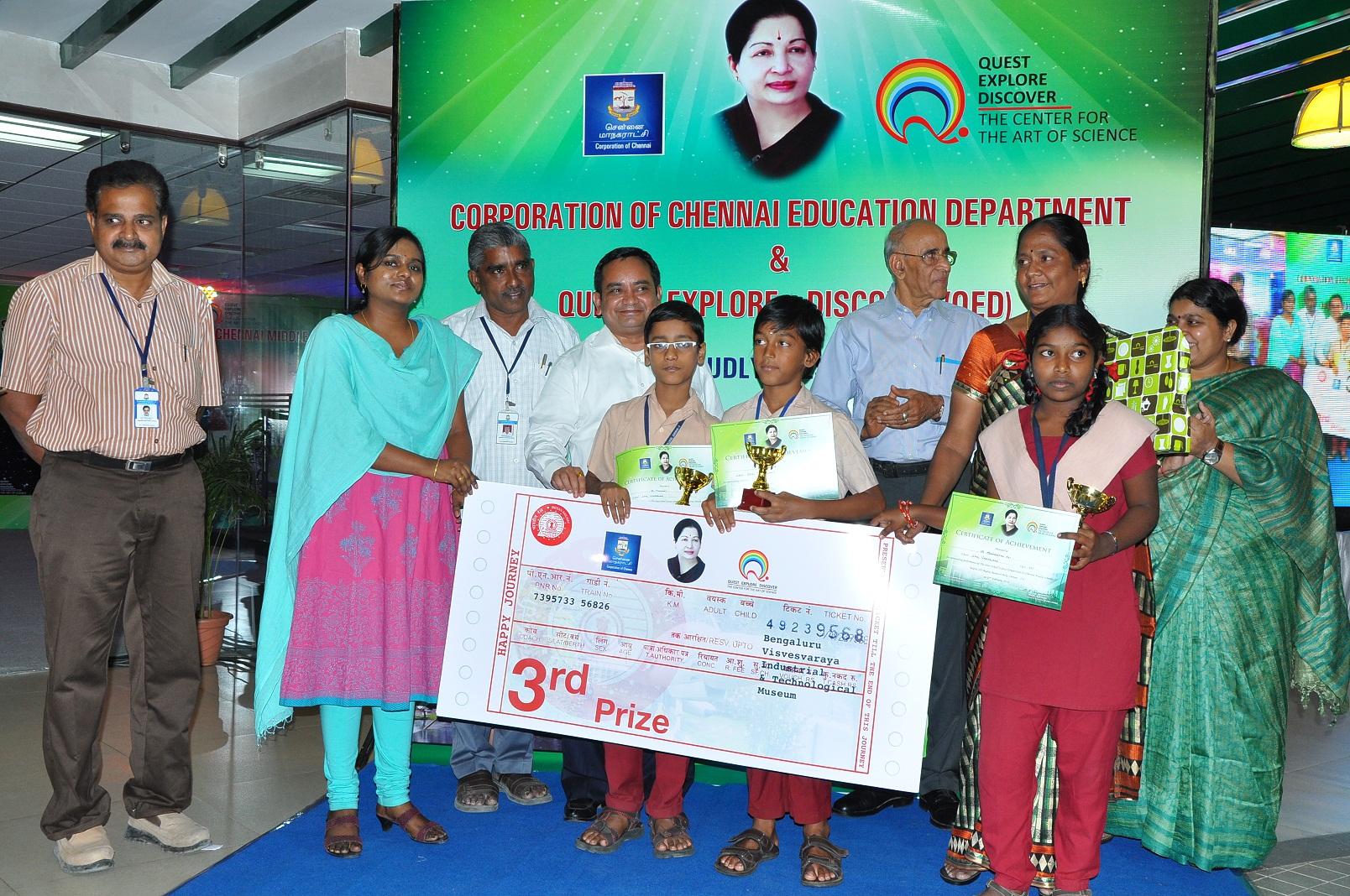 3rd Prize: CMS Vadapalani - A. Ramana 6th, S. Mohan Raj 7th, S. Sangeetha Sri 8th, With Qed Everest Edusis& Solutions Pvt Ltd Chairman Mr.Krishana And Lalitha IAS