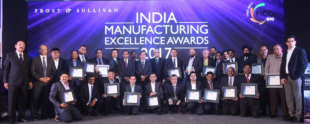 The award recipients at 2017 Frost & Sullivan India Manufacturing Excellence Awards