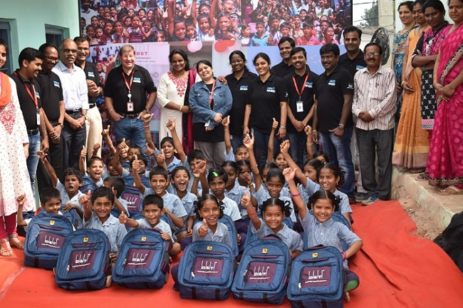 Enthusiastic Children with their New School Bags