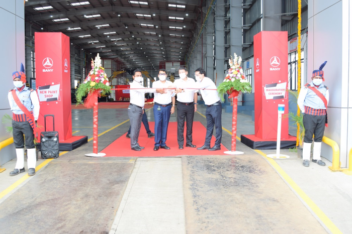 (L to R)Mr. Dheeraj Panda- Director of Sales , Marketing and Customer Support, Mr. Deepak Garg- Managing Director Sany India & South Asia, Mr. Dawson Zhu - Executive Director and Mr. Mahesh Tripathi - Senior Vice President - Factory Operation & R&D inaugurating the paint shop of Sany India.