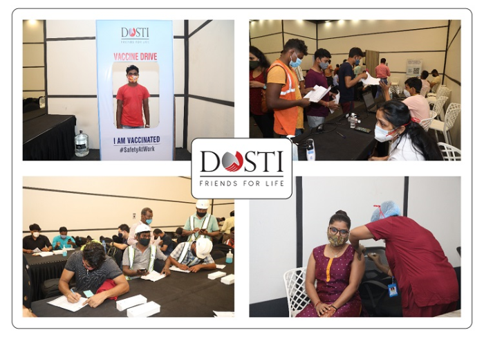 Dosti Realty conducts Vaccination for Over 3500 Employees, Construction Workers, and Their Immediate Family.