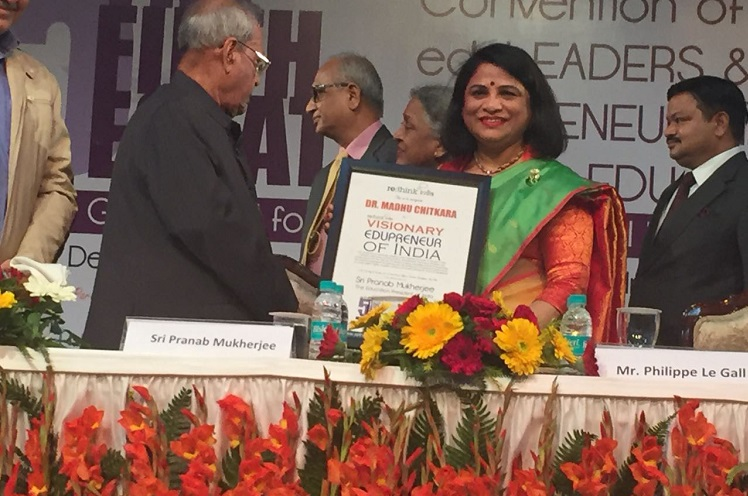 Dr. Madhu Chitkara has been recognized as a Visionary eduLEADER of India by the former President Sri Pranab Mukherjee