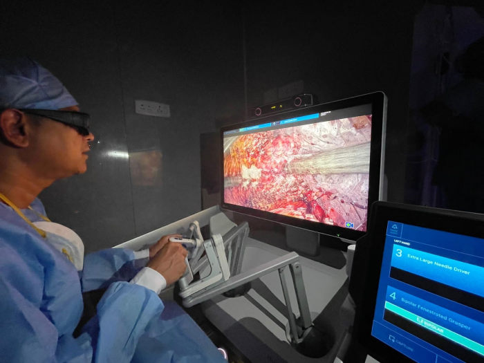 Dr. Ragavan on the Hugo? RAS console performing the Robotic Prostatectomy