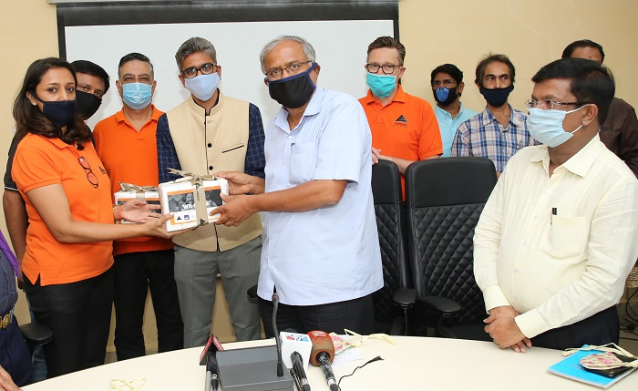Embassy Office Parks hands over sanitizers to the Hon'ble Education Minister Mr. S Suresh Kumar