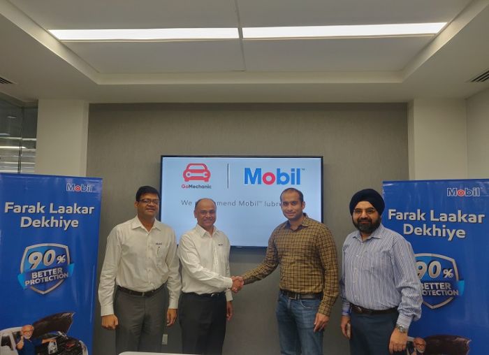 (L-R) Kapil Mittal, Market Development Manager- ExxonMobil Lubricants Pvt. Ltd, Deepankar Banerjee, CEO- ExxonMobil Lubricants Private Ltd, Kushal Karwa, Co-Founder- GoMechanic and Rupinder Paintal, General Manager, OEM & SGA - ExxonMobil Lubricants Pvt. Ltd, at the partnership renewal ceremony between ExxonMobil Lubricants Pvt Ltd and GoMechanic