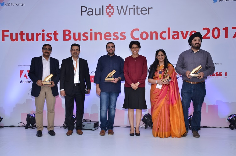 Caption:  From L to R : Arun Rajamani, Country Head & GM, Pluralsight India, Sunder Madakshira, Head- Marketing, Adobe India, Guneet Singh, Head Marketing Solutions, Google, Anjum Chopra, Former Captain, Indian Women's Cricket Team, Geetu Bhatnagar, Chief Marketing Officer, Oracle India & Jaspreet Bindra, Vice-President - Digital Transformation, Mahindra at Futurist Business Conclave 2017.