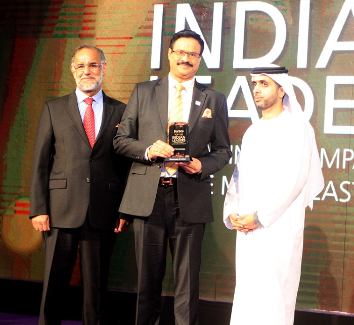 Masala King Dr. Dhananjay Datar, Chairman & Managing Director of Al Adil Trading was recently honoured by Forbes Middle East as the 27th top Indian Business Leader in the Middle East for his contribution in retail sector. Dr. Datar received this award from H.E. Navdeep Singh Suri, Indian Ambassador to the UAE and Sheikh Mohammed Bin Maktoum Bin Juma Al Maktoum at a glittering function held recently at Palazzo Versace, Dubai, to celebrate the success of these Indian trailblazers