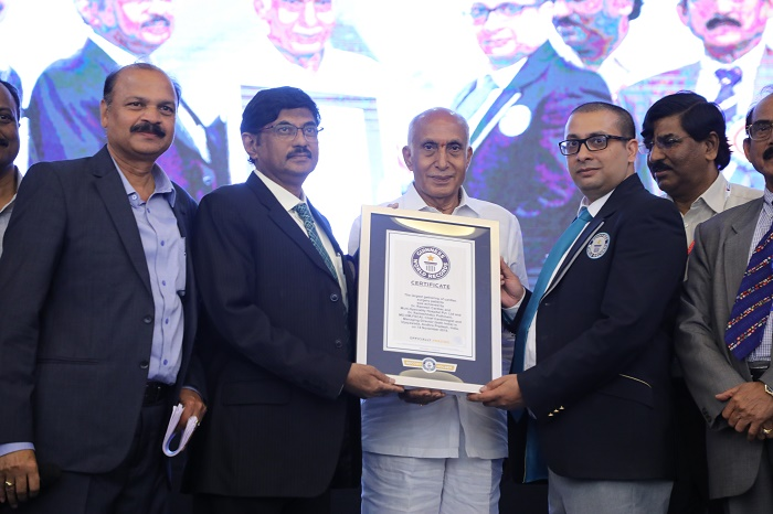 Dr. P. Ramesh Babu, Chief Cardiologist and Managing Director of Dr. Ramesh Cardiac & Multi-Specialty Hospitals receiving the certificate from Mr Rishi Nath, the official Guinness World Records adjudicator at Vijaywada. Also seen in the center, Chairman of the Hospital Mr M S Ramamohana Rao, our Chairman.