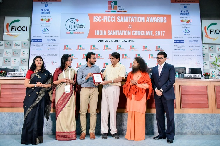 <b>Railways Minister Mr. Suresh Prabhu Presented ISC-FICCI 2017 Award to Grameen Koota for Best Financial Accessibility for Sanitation</b>&#8220;></td> </tr> <tr> <td width=