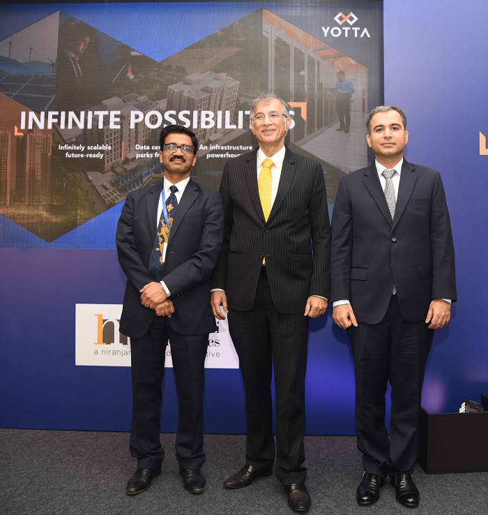 From Left - Mr Sunil Gupta - CEO Yotta, Dr. Niranjan Hiranandani - CMD Hiranandani Group, Mr. Darshan Hiranandani Group CEO