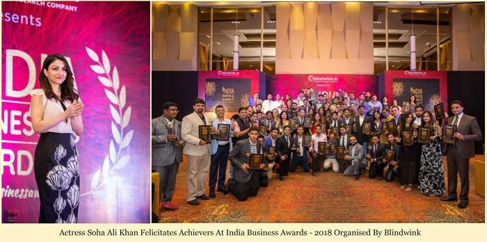 Actress Soha Ali Khan Felicitates Achievers at India Business Awards -2018 Organized by Blinkwink