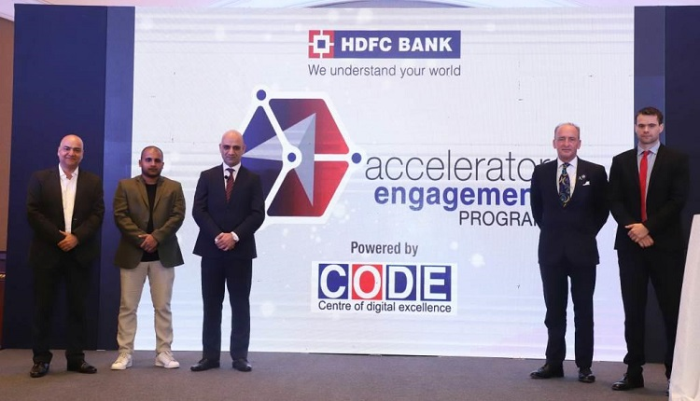 The Accelerator Engagement Programme was launched in Mumbai by (from Left to Right) Mr. Vikram Gupta, Founder and Managing Partner, IvyCamp; Mr. Mithun Shetty, Head of Community Building, 91SpringBoard; Mr. Nitin Chugh, Country Head – Digital Banking, HDFC Bank in the presence of Lord Mayor of the City of London, Alderman Charles Bowman; and Mr. Ben Green, First Secretary, Trade, DIT.