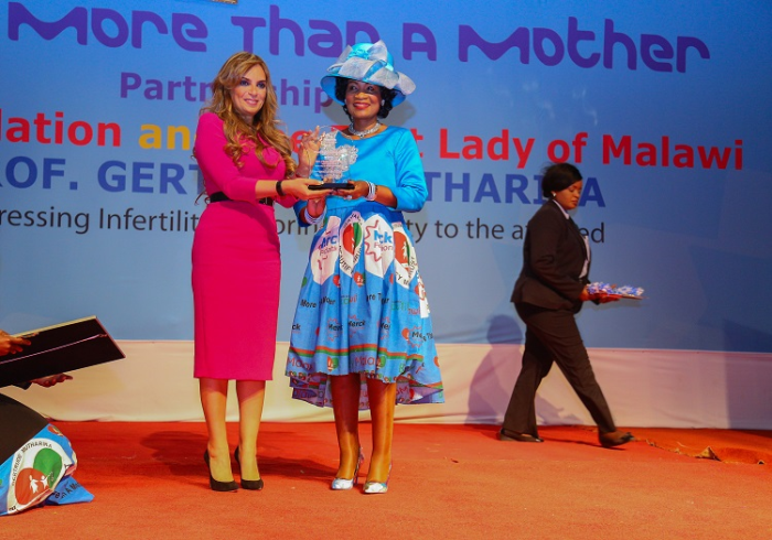 Dr. Rasha Kelej, CEO of Merck Foundation and President, Merck More than A Mother with H.E. PROF. GERTRUDE MUTHARIKA, The First Lady of Malawi and Ambassador of Merck More Than a Mother during the launch of Merck Foundation programs in Malawi