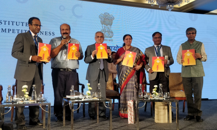 (L-R) Hisham Mundol, Executive Director-India, CIFF; Amit Kapoor, Chairman, Institute for Competitiveness; Dr. Rajiv Kumar, Vice Chairman, NITI Aayog; Dr. Renu Swarup, Secretary, Department of Bio Technology; Ashutosh Sharma, Secretary, Department of Science and Technology and Vaidya Rajesh Kotecha, Secretary, AYUSH