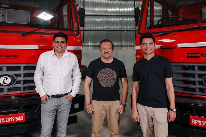 Chetan Singhal, Sid Das and Subodh Yadav (from Left to Right) with IPLT Rhino 5536 Electric Truck