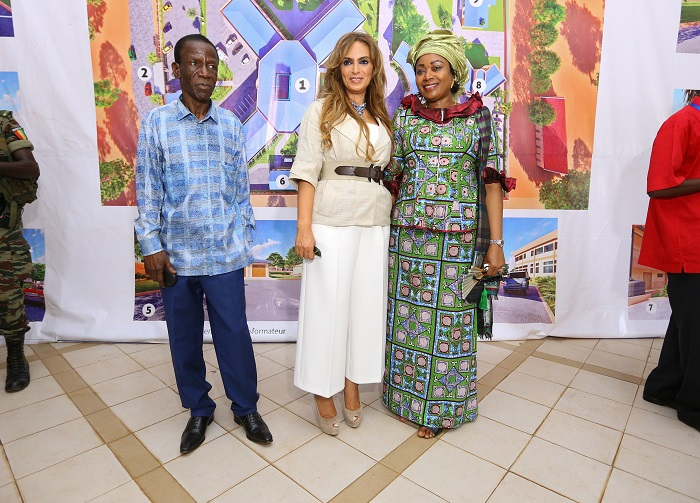 Dr. Rasha Kelej, CEO of Merck Foundation and President, Merck More Than a Mother with The First Lady of Guinea, H.E. DJENE CONDÉ with Hon'ble Minister of Health of Guinea, Dr. Edouard Nyankoye Lamah during their visit to the first ever fertility centre in the country.