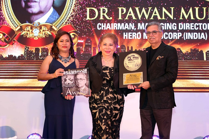 Dr. Pawan Munjal, Chairman, Hero MotoCorp, formally inducted into the Asia Pacific Golf Hall of Fame at a ceremony held in Gurugram. At the Asia Pacific Golf Hall of Fame, Dr. Munjal joins legendary golfers such as Jack Nicklaus & Gary Player. Dr. Munjal's induction into the Asia Pacific Golf Hall of Fame will be permanently installed at the Dr. David Chu Golf Museum at Shenzhen in China.